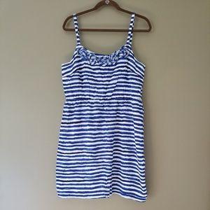 LOFT Blue and White Striped Sundress